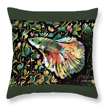 Fighting Fish 1 Throw Pillow