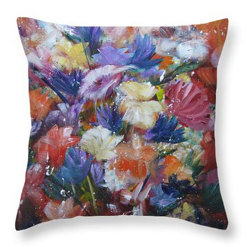 Fighting For Space Throw Pillow by Roberta Rotunda