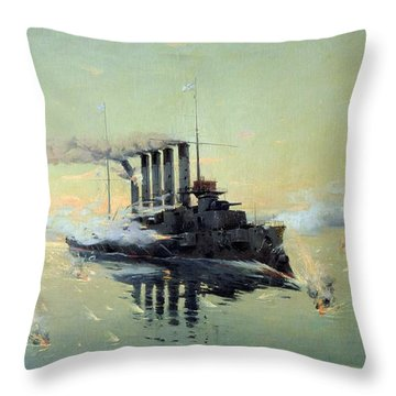 Fighting On July In The Yellow Sea Throw Pillow by Konstantin Veshchilov