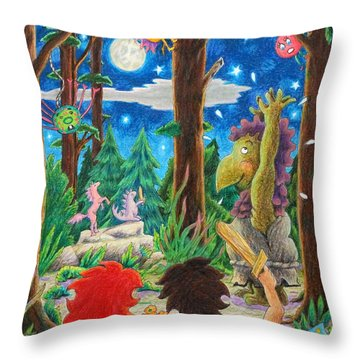 Fighting Orcs And Giant Spiders Throw Pillow