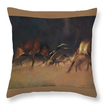 Fighting Stags I. Throw Pillow