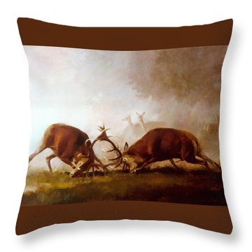 Fighting Stags II. Throw Pillow