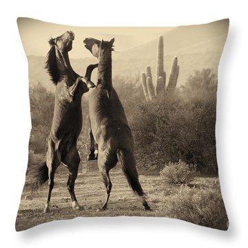 Fighting Stallions Throw Pillow