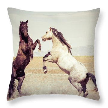 Throw Pillow featuring the photograph Fighting Stallions by Mary Hone