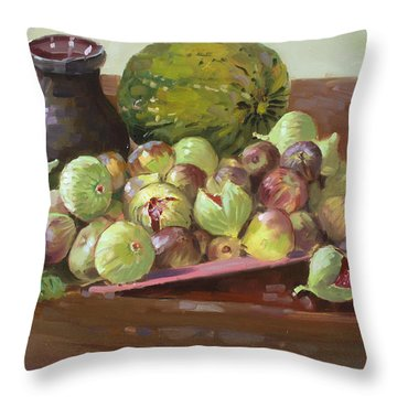 Figs And Cantaloupe Throw Pillow by Ylli Haruni