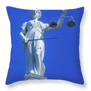 Figure Of Justice Clarion Throw Pillow