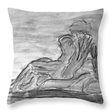 Figure Sketch In Monochrome Black White Arched And Curved Twisted Back Leaning On One Hand In Seated Throw Pillow