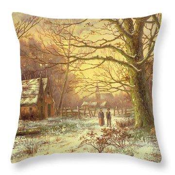 Figures On A Path Before A Village In Winter Throw Pillow by Johannes Hermann Barend Koekkoek