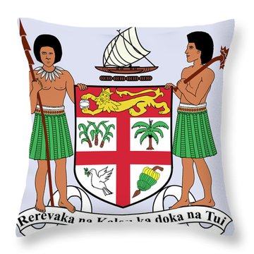 Throw Pillow featuring the drawing Fiji Coat Of Arms by Movie Poster Prints