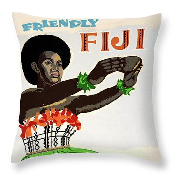 Fiji Restored Vintage Travel Poster Throw Pillow