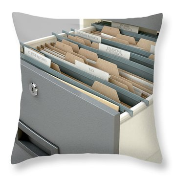 Filing Cabinet Drawer Open Tax Throw Pillow