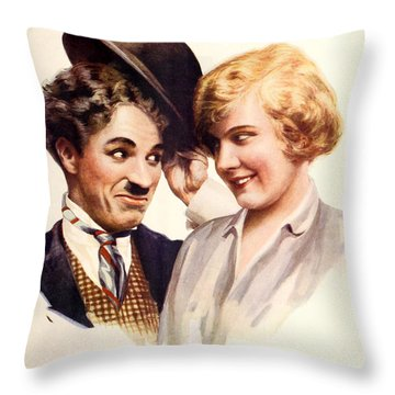 Film Fun Classic Comedy Magazine Featuring Charlie Chaplin And Girl 1916 Throw Pillow