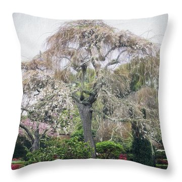 Filoli Flowering Tree Throw Pillow