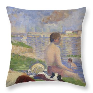 Final Study For Bathers At Asnieres Throw Pillow