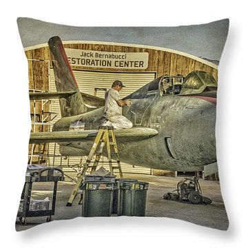 F-84f Thunderstreak Final Touches  Throw Pillow