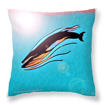 Finback Diving Through Krill Throw Pillow