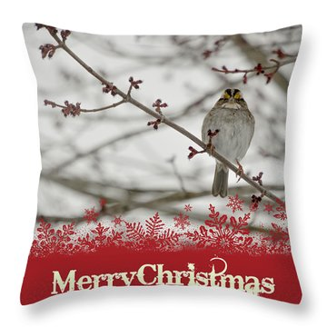 Throw Pillow featuring the mixed media Finch Christmas by Trish Tritz