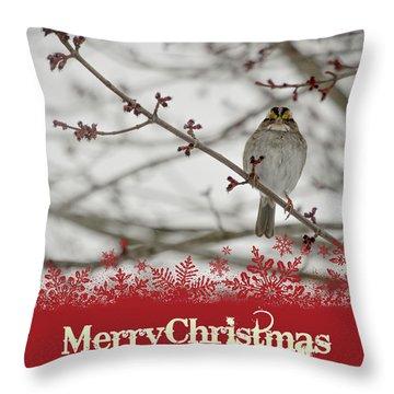 Finch Christmas Throw Pillow by Trish Tritz