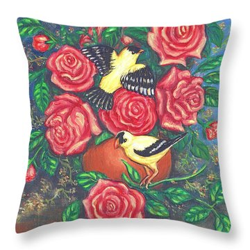 Finch Fancy Throw Pillow by Linda Mears