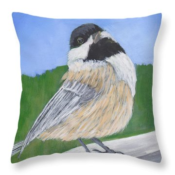 Throw Pillow featuring the painting Finch by Patricia Cleasby