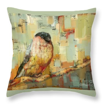Throw Pillow featuring the mixed media Finch Tapestry by Carrie Joy Byrnes