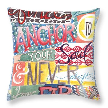 Throw Pillow featuring the painting Find Your Anchor by Erin Fickert-Rowland