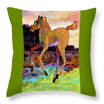 Throw Pillow featuring the painting Finding His Legs by Bob Coonts