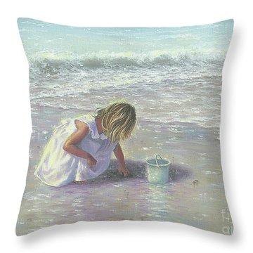 Little Girl On Beach Throw Pillows Fine Art America Simple Little Girl Decorative Pillows