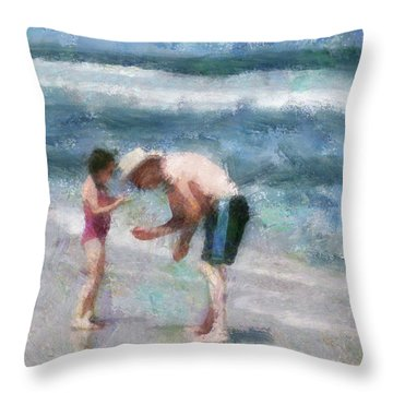 Finding Seashells Throw Pillow