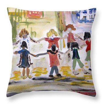 Throw Pillow featuring the painting Finding Time To Play by Mary Carol Williams