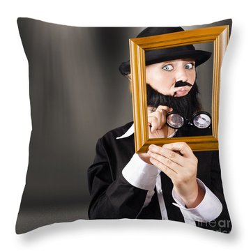 Fine Art Buyer Studying Picture In Modern Gallery Throw Pillow by Jorgo Photography - Wall Art Gallery