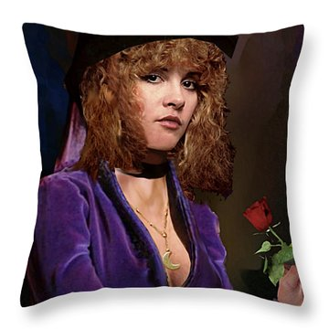 Fine Art Digital Portrait Stevie Nicks Crescent Moon Top Hat Throw Pillow