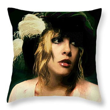 Fine Art Digital Portrait Stevie Nicks Wearing Beret Throw Pillow