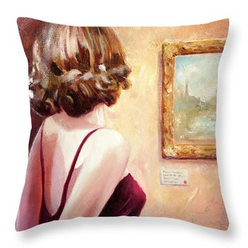 Fine Art Gallery Opening Night Throw Pillow by Michael Rock