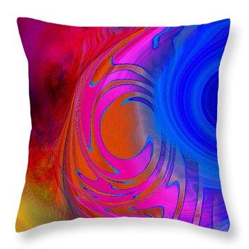 Fine Art Painting Original Digital Abstract Warp 3 Triptych B Throw Pillow