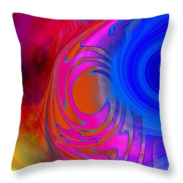 Fine Art Painting Original Digital Abstract Warp 3 Triptych B Throw Pillow