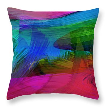 Fine Art Painting Original Digital Abstract Warp10a Triptych IIi Throw Pillow