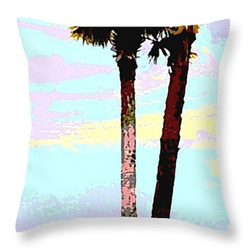 Fine Art Palm Trees Gulf Coast Florida Original Digital Painting Throw Pillow