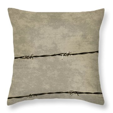 Fine Art Photograph Barbed Wire Over Vintage News Print Breaking Out  Throw Pillow