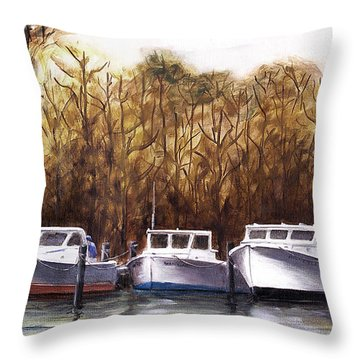 Fine Art Traditional Oil Painting 3 Workboats Chesapeake Bay Throw Pillow