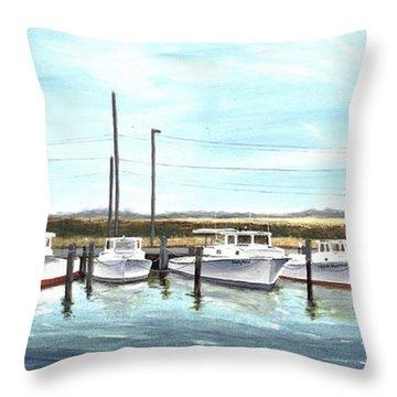 Fine Art Workboats Kent Island Chesapeak Maryland Original Oil Painting Throw Pillow