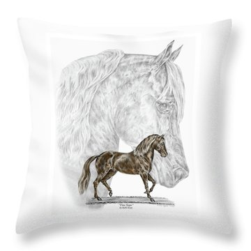 Throw Pillow featuring the drawing Fine Steps - Paso Fino Horse Print Color Tinted by Kelli Swan