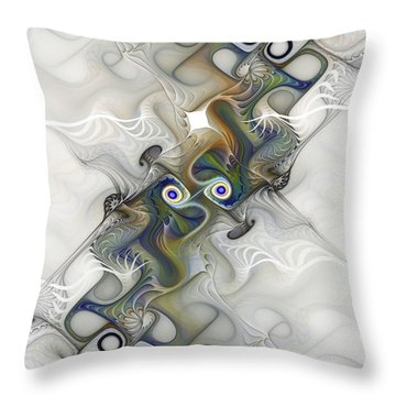 Throw Pillow featuring the digital art Fine Traces by Karin Kuhlmann