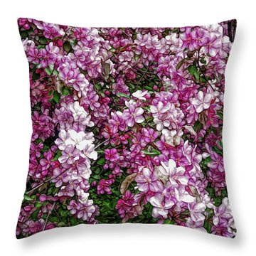 Throw Pillow featuring the photograph Fine Wine Cafe Beautiful Blossoms by Aimee L Maher Photography and Art Visit ALMGallerydotcom
