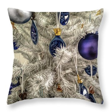 Throw Pillow featuring the photograph Fine Wine Cafe Christmas Tree Ornaments by Aimee L Maher Photography and Art Visit ALMGallerydotcom