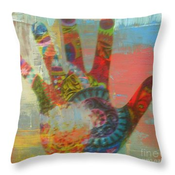 Finger Paint Throw Pillow by Kelly Awad