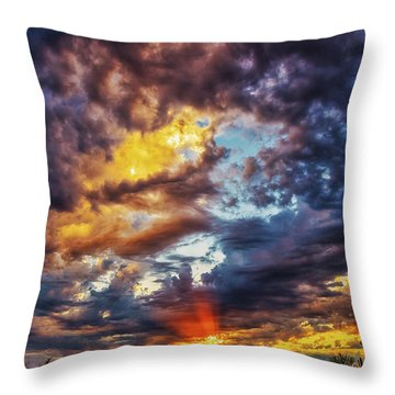 Finger Painted Sunset Throw Pillow