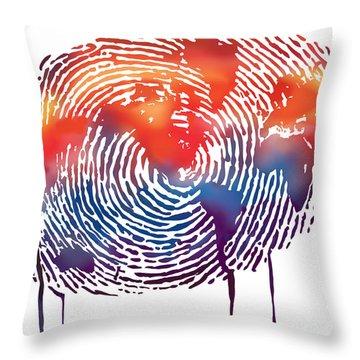 Finger Print Map Of The World Throw Pillow by Sassan Filsoof