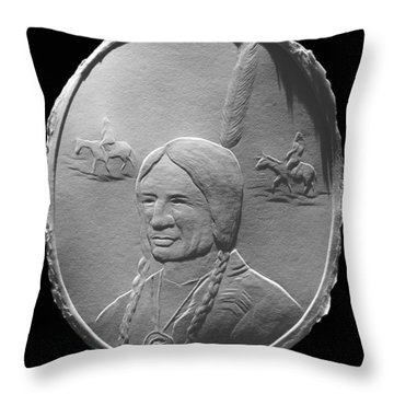 Fingernail Relief Drawing Of American Indian  Throw Pillow