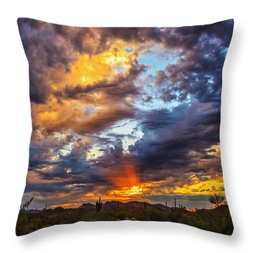 Finger Painted Sunset Throw Pillow